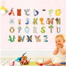 Cartoon Animal English Alphabet Wall Stickers Colorful PVC Decals DIY Kids Room Nursery Home Decoration Backdrop Wallpaper