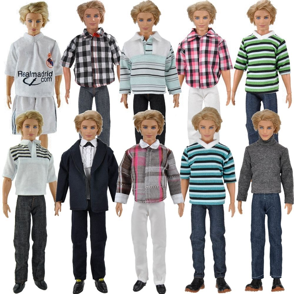 E-TING 1/6 Ken Fashion Doll Clothes 3 Sets Boys Suit Casual Wear Plaid T-shirt Pants Prince Outfits For Barbie Toys Accessories fashion outfit daily casual wear halter backless blouse jeans trousers handbag shoes clothes for barbie doll accessories gift
