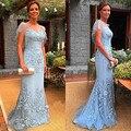 Elegante aqua blue mermaid longo mãe do vestido da noiva com manga vibração 2017 novo