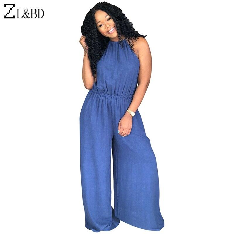 Zlbd Plus Size 3xl Women Cold Shoulder Sleeveless Halter Denim