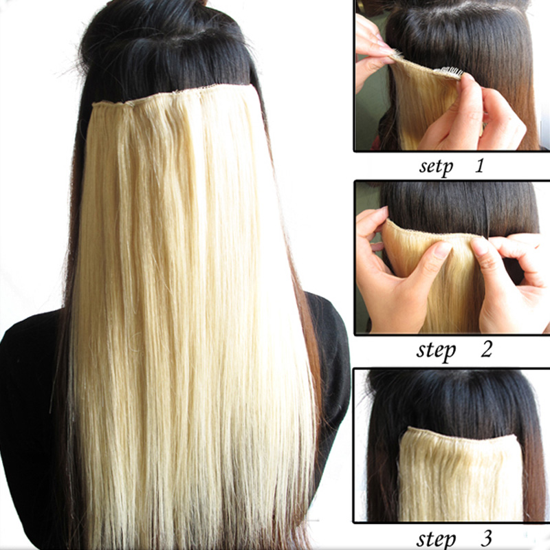 Clip In On Remy Human Hair Straight Virgin Hair Extensions 18inch