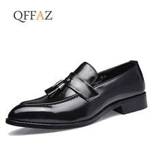 QFFAZ Men Dress Shoes Loafers Oxford Flat Moccasins Wedding Leather Casual zapatos hombre