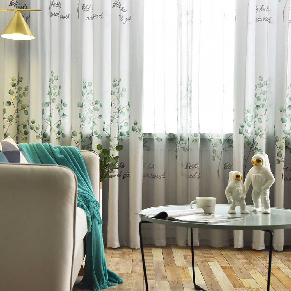Modern Nordic Leaf Printed Thermal Insulated Semi Blackout Curtains For Bedroom White Sheer Window Curtain Tulle Kitchen WP2863