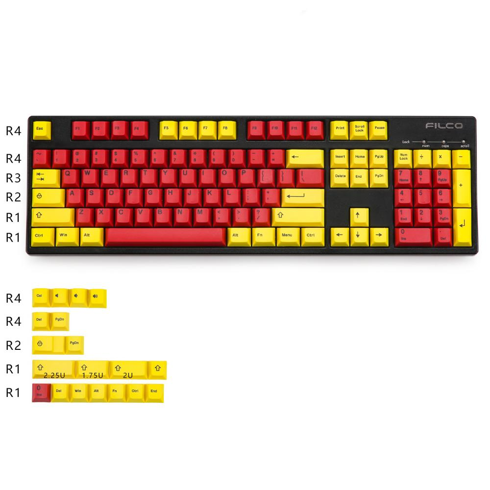 Yellow And Red Keycaps Cherry Profile Dye-subbed PBT 123 Keys For Cherry Mechanical Keyboard Fit GK64 TADA68