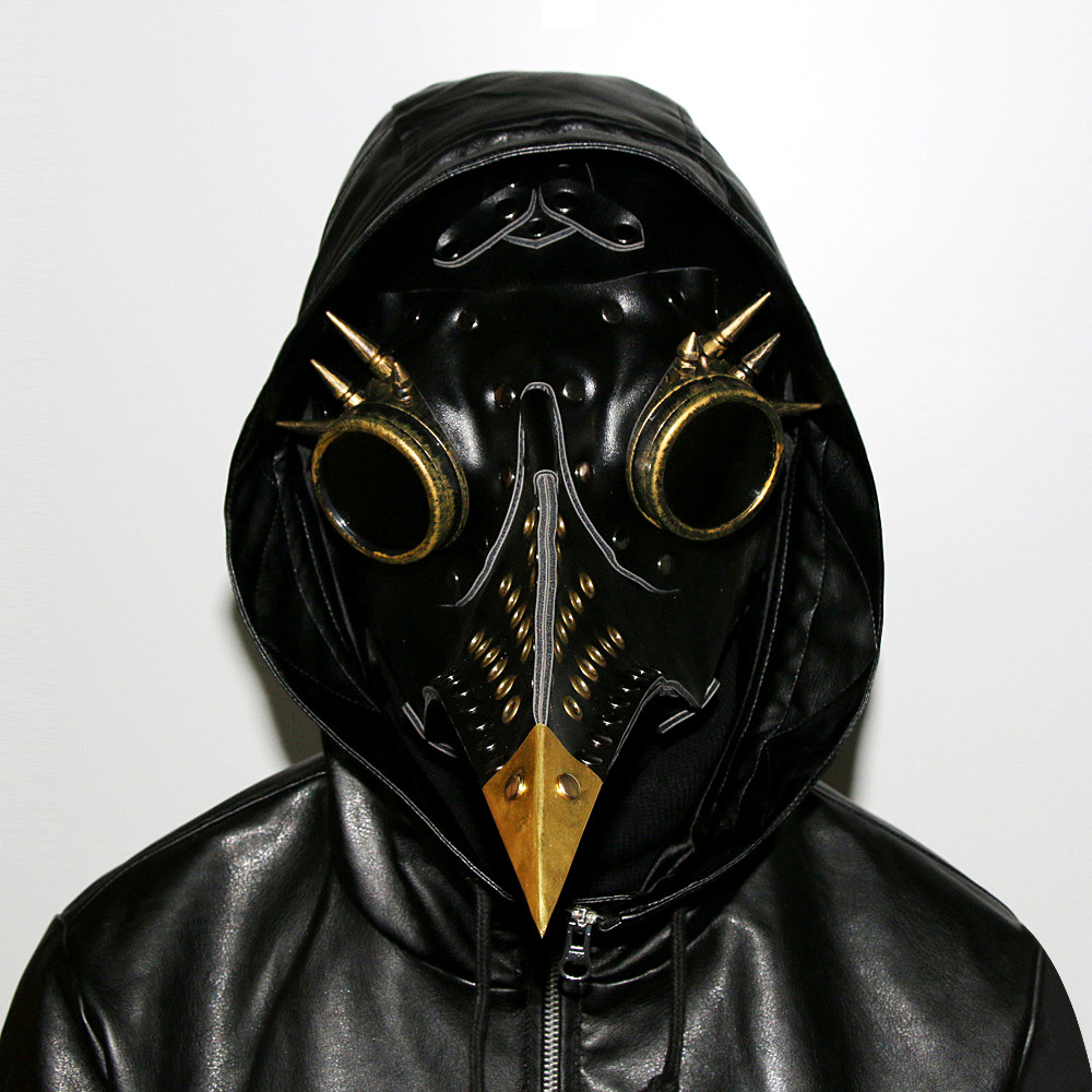Здесь продается  Gothic Black PU Leather Retro Rock Long Beak Bird Plague Doctor Adult Cosplay Steampunk Beak Mask And Goggles Halloween Costume  Одежда и аксессуары