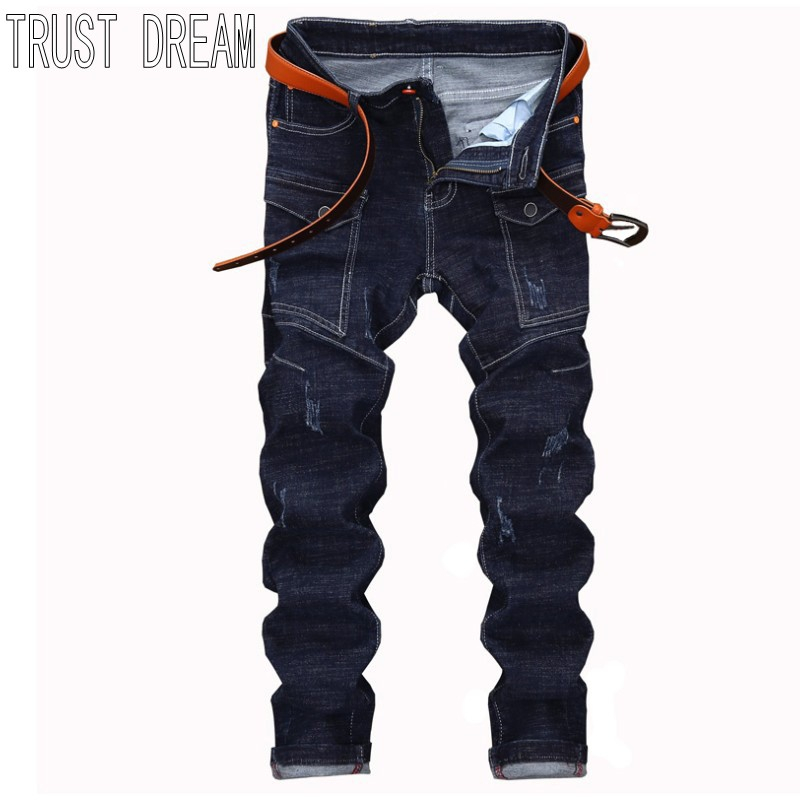TRUST DREAM Europeans Designed Men More Pocekets Slim Dark Blue Jean Casual Man Fashion Street Personal Cargo Jeans l jean camp trust