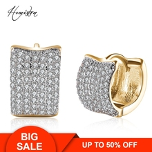 Brand Creative Wide Full Paved Clear CZ Creole Earring, Yellow Gold Plated European Romantic Jewelry Gift For Women TF 136E