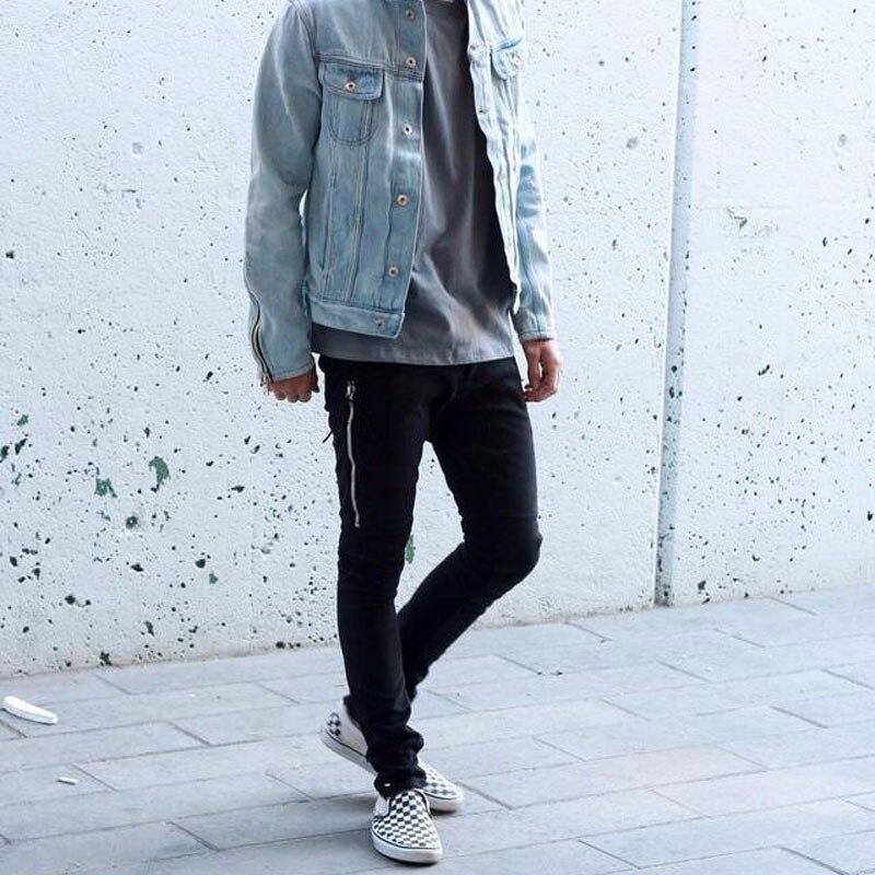 QXCWear NEW Mens Biker Jeans Motorcycle Slim Fit Washed Black Grey Blue Moto Denim Pants Joggers For Skinny Men
