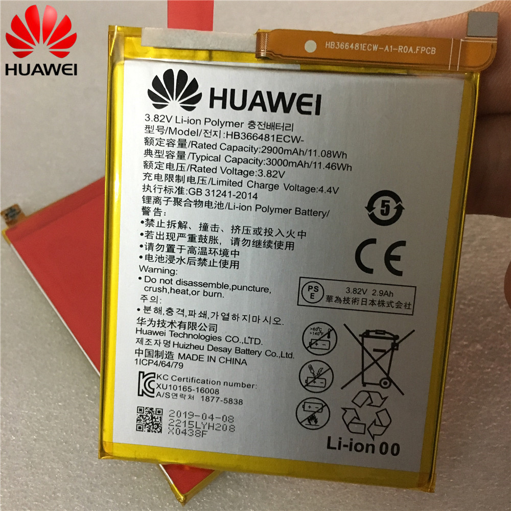 2019 100% original réel 3000 mAh HB366481ECW pour Huawei p9/p9 lite/honor 8/p10 lite/y6 II/p8 lite 2017/p20 lite/p9lite batterie