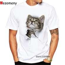 Mesomeny Cute Cat T-shirts Women Summer Tops Tees Print Animal T shirt Men o-neck short sleeve Fashion Tshirts Plus Size R3299