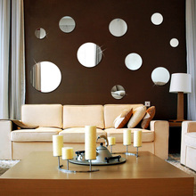 цена на Mirror round acrylic photo wall sticker creative personality 3D stickers bedroom bedside background wall surface decoration
