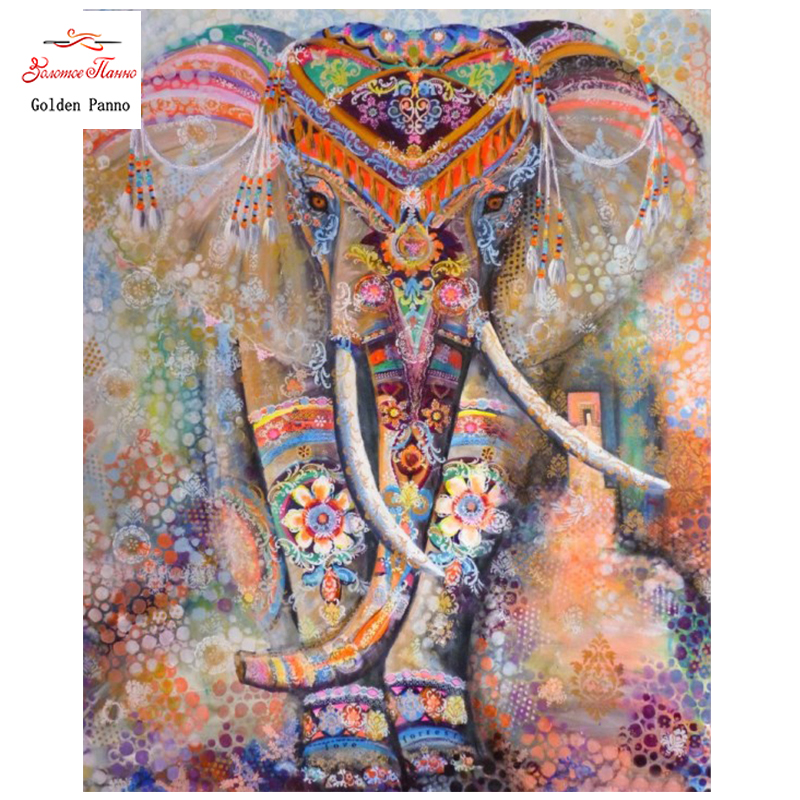 Golden Panno,DIY Needlework Counted Cross Stitch Set Embroidery Kit 14CT 11CT Animal Elephant,Christmas Gift,Pattern Crossstitch