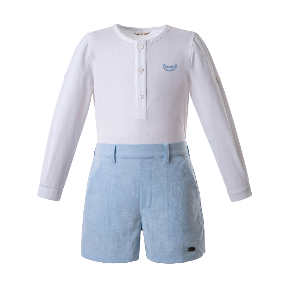 Pettigirl Wholesale Boys Clothing Sets White Single Row Button Design Top With Blue Shorts Child Clothes