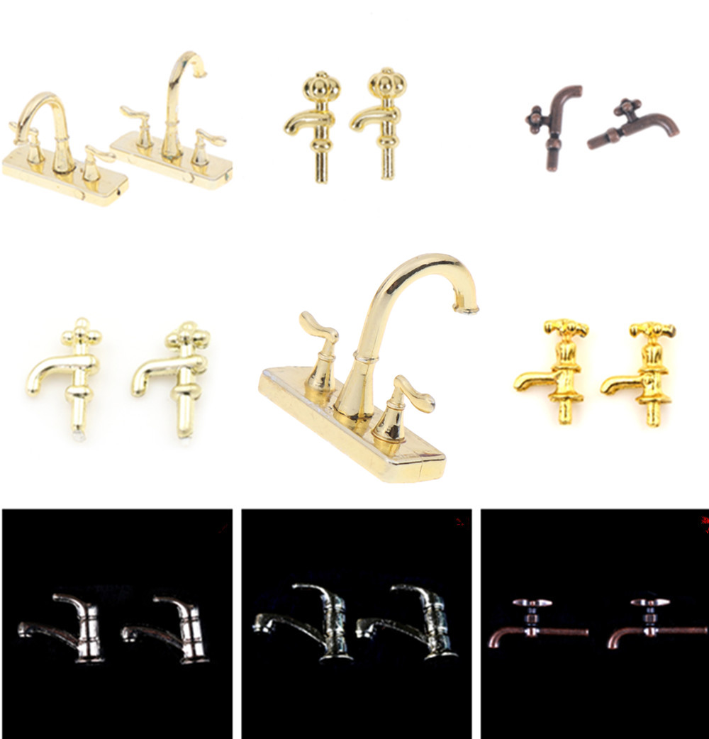 Simulation 1/12 Dollhouse Miniature Accessories Mini Alloy Bathtub Faucet Water Tap Model Toys For Doll House Decoration