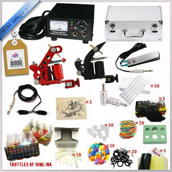 TTKS035 M Complete Tattoo Kit Mini Gun Rotary Machine Equipment sets +Ink +Power Supply +Needle + Case for Beginners Body Art #T 2016 high quality 2 gun rotary tattoo kit glitter complete machine equipment sets ink piercing tools for beginners body art t