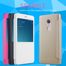 NILLKIN Sparkle Series Smart View Window Flip Leather Case For Xiaomi Redmi Note 4 Phone Housing Cover With Sleep/Wake Up
