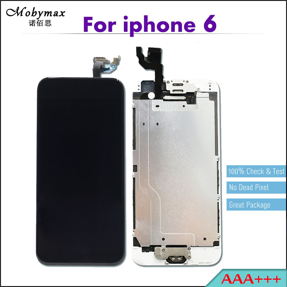 Mobymax 5PCS AAA+++ Ecran Pantalla Module for iPhone 6 LCD Full Assembly Touch Screen Digitizer Display+Home Button+Front Camera ...