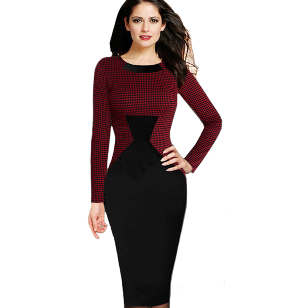 Free Shipping Fashion Casual Women Dress Long Sleeves Bodycon Office Dress Patchwork Design Elegant Lady Dress