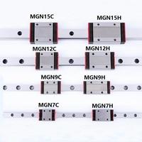 1 pcs 선형 레일 가이드 미니 mgn7 9 12 15 블록 mr7 mr9 mr12 mr15 + 1 pcs h 또는 c 캐리지 3d 프린터 부품