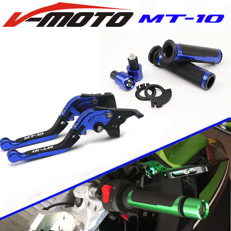 New Combo CNC handle sets+Foldable Adjustable Brake Clutch Lever For YAMAHA MT-10 2016 nitro triple chrome plated abs mirror 4 door handle cover combo