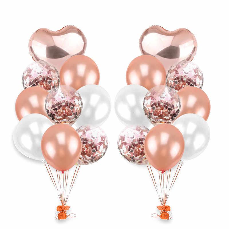 Свадебные украшения 1 компл. 18 дюймов Розовый Фольга Воздушный Шар 12 конфетти воздушный шар День рождения Baby Shower DIY События подарок для гостей, 9