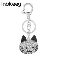 Inokeey rhinestone kass võtmehoidja naistele ja meestele sulamist emailiga kristallloomade auto võtmehoidja
