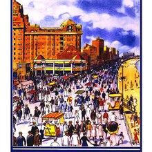 Póster Vintage de viajes por el mundo para turismo, Nueva Jersey, ciudad atlántica, pinturas clásicas en lienzo, pósteres de pared, pegatinas para decoración del hogar, regalo