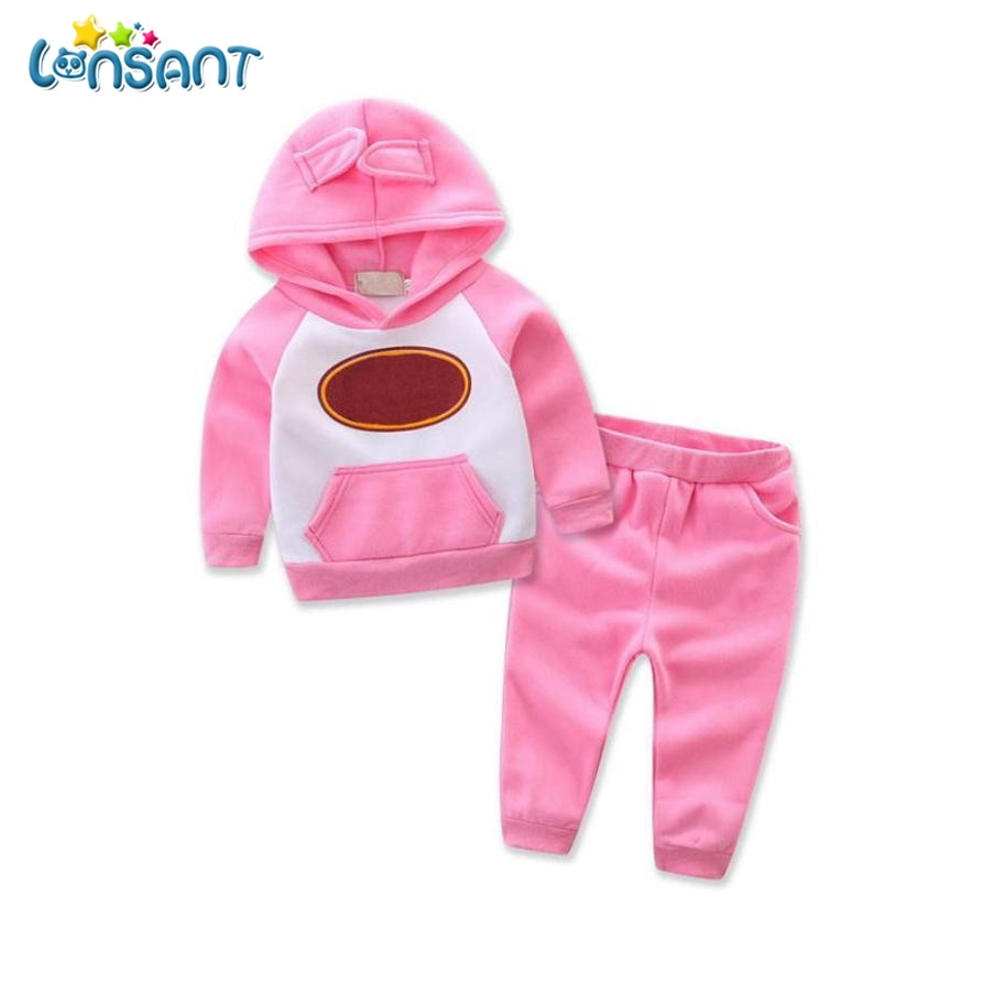 LONSANT Baby Girl Clothes Winter Batman Hoodies Pants Thicken WarmClothes Baby Born Set  Baby Boy Kids Clothes Dropshipping 2pcs set baby clothes set boy