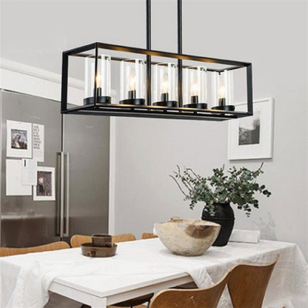 Post modern new nordic rectangular restaurant dining room for Lustre salle a manger