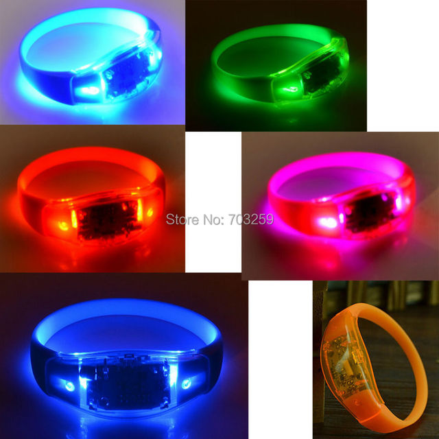 Kleurrijke Siliconen Polsbandjes Glowing armbanden Voice controle ...