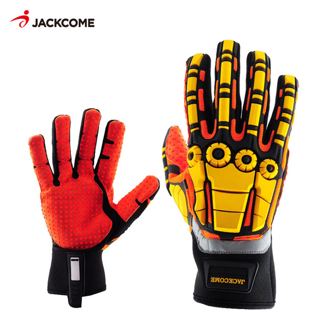 Oil and Gas Safety Gloves Anti Vibration Nylon Shock Mechanics Impact Oil and Water Resistant Fencing Sport Gloves