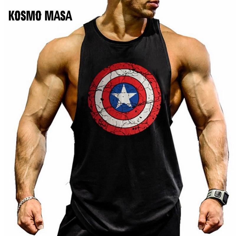 KOSMO MASA Skull Mens Tank Tops Shirt Bodybuilding Fitness Singlet Workout Tank Top Cotton Sleeveless Muscle Vest for Men MC0334