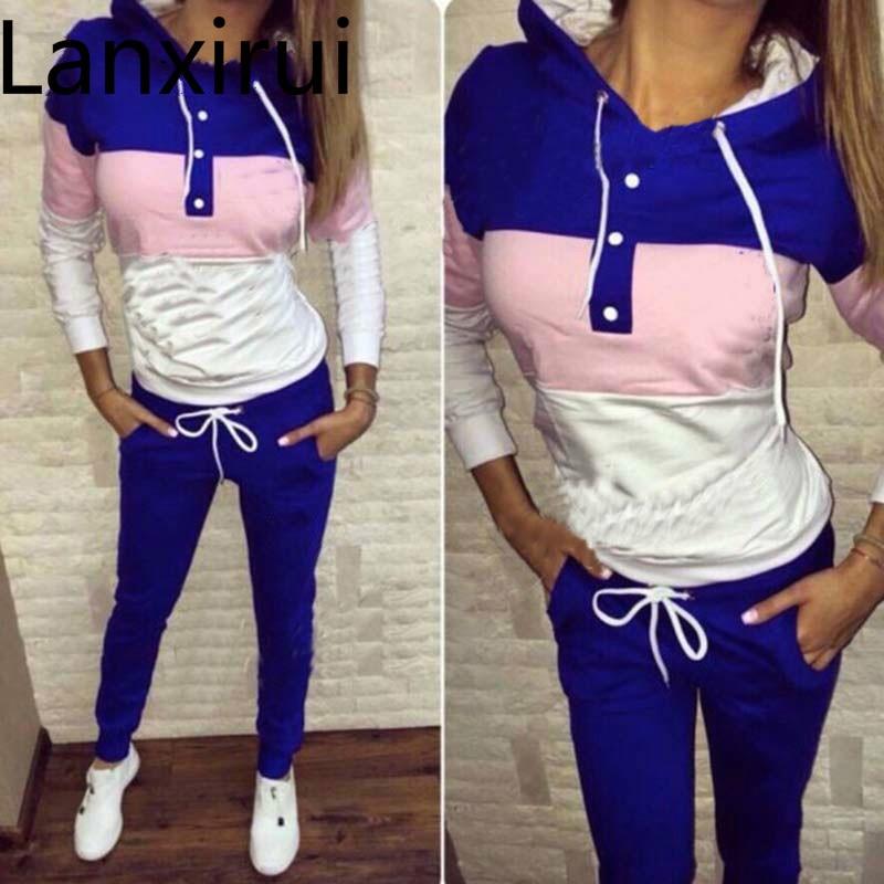 a748d1da5e851 Women Two Piece Clothing Set Autumn Tracksuit Patchwork Hoodie Sweatshirt  Long Pant Jogger Outfit Set Female Sweat Suit