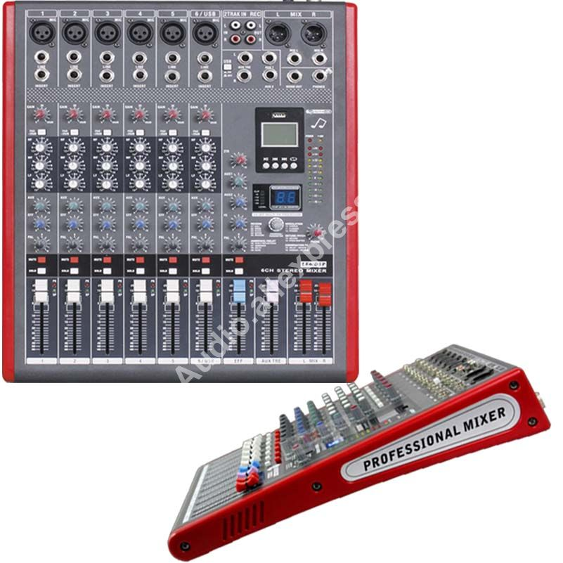 MICWL LE6 Pro 6 Channel Stereo Microphone Mixer Sound Mixing Console with 99 DSP Effects MP3 USB 48V 24-Bit Multi-FX Processor цена