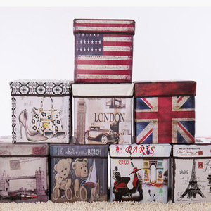 Image 2 - European style retro printing film covered receptacle stool receptacle box multi functional folding storage stool with cover for