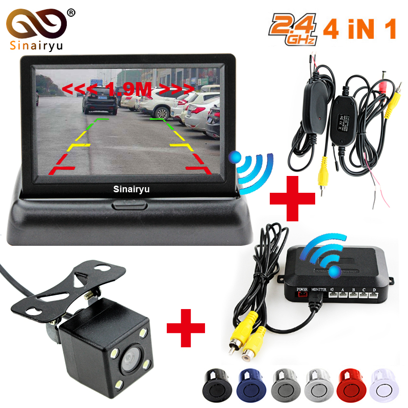 Sinairyu Car Wireless Parking Monitor Video System 4.3 Inch Car Foldable Monitor with Parking sensor and camera Wireless Kit double cpu 4 car parking system kit sensors with led display