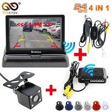 Sinairyu Auto Senza Fili di Parcheggio Monitor di Sistema Video 4.3 pollice Auto Pieghevole Monitor con sensore di Parcheggio e macchina fotografica Senza Fili Kit