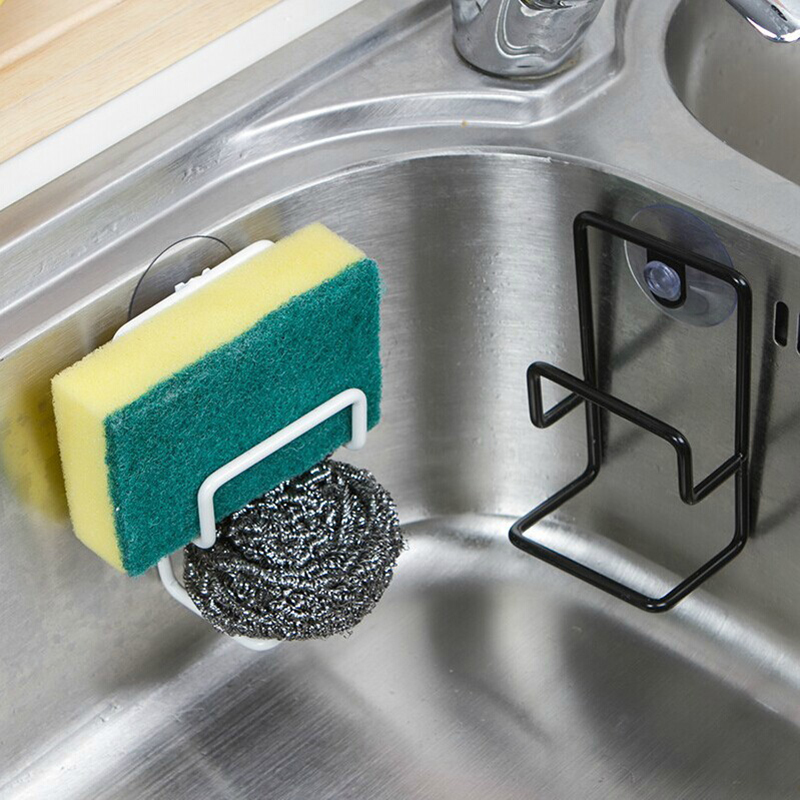 1 PC Sponge Holder Metal Towel Scrubbers Soap Drying Shelves Rack With Suction Cup Fiber Scouring Pad Drainer Kitchen Organizer