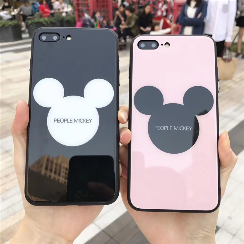 Tempered Glass phone Cases For iphone X 6 6s 6plus 7 7Plus Glossy Hard Back Cover Shell for iphone 8 8plus Cartoon Mickey