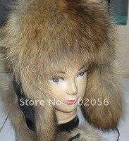 Fur Lei Feng Bomber aviator ushanka ranched fox fur hat Warm #2316