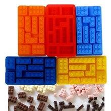 1PCS 10Hole Lego Brick Blocks Shaped Rectangular DIY Chocolate Silicone Mold Ice Cube Tray Cake Tools Fondant Moulds L105