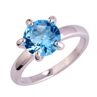 lingmei Wholesale Fashion Lady Blue Topaz  Silver Ring Size 6 7 8 9 10 11 12 For Lover Nice Party Jewelry Gift Free Shipping