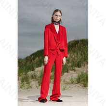 Jacket+Pants+Vest New Red Women's Business Suits Two-piece Sets Blazers Autumn Notched Single Breasted Slim Office Uniform Style