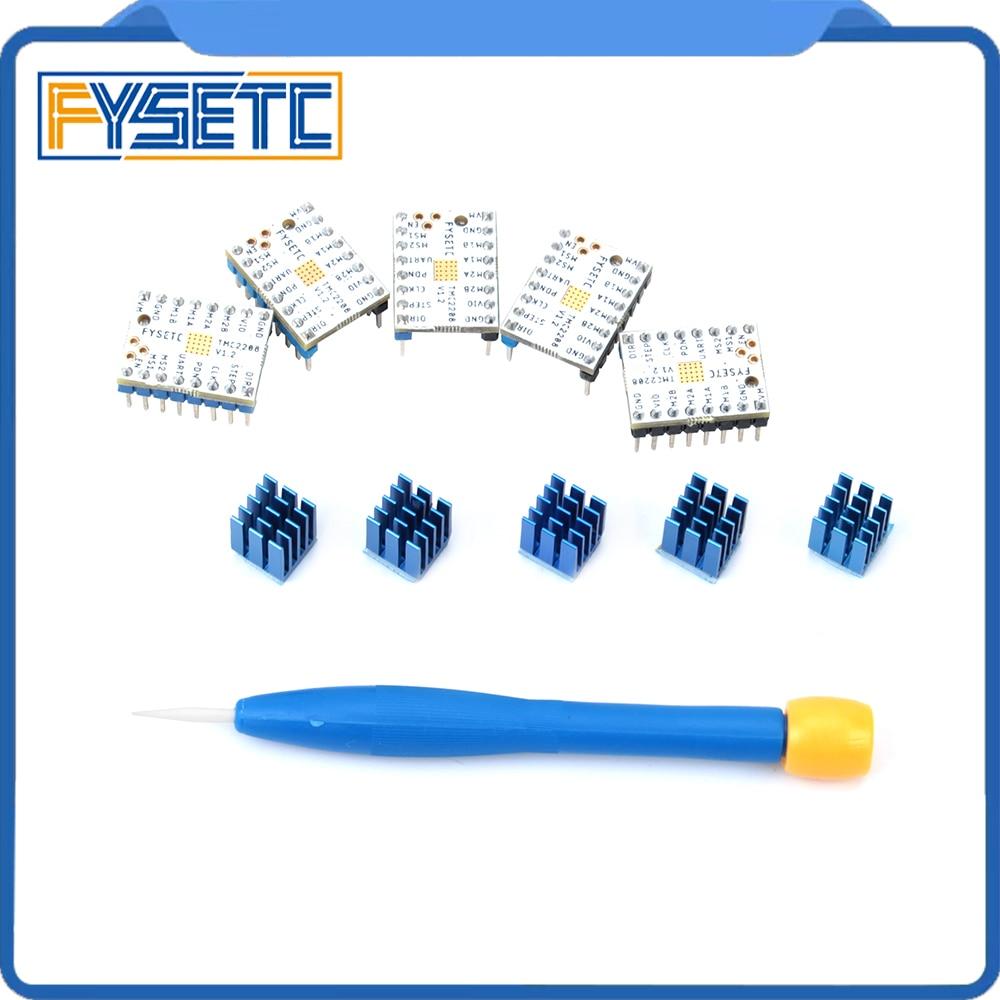 5 unids TMC2208 v1.2 Motor mudo conductor Stepstick tubo de alimentación controlador incorporado actual 1.4A corriente de pico de 2A reemplazar TMC2100