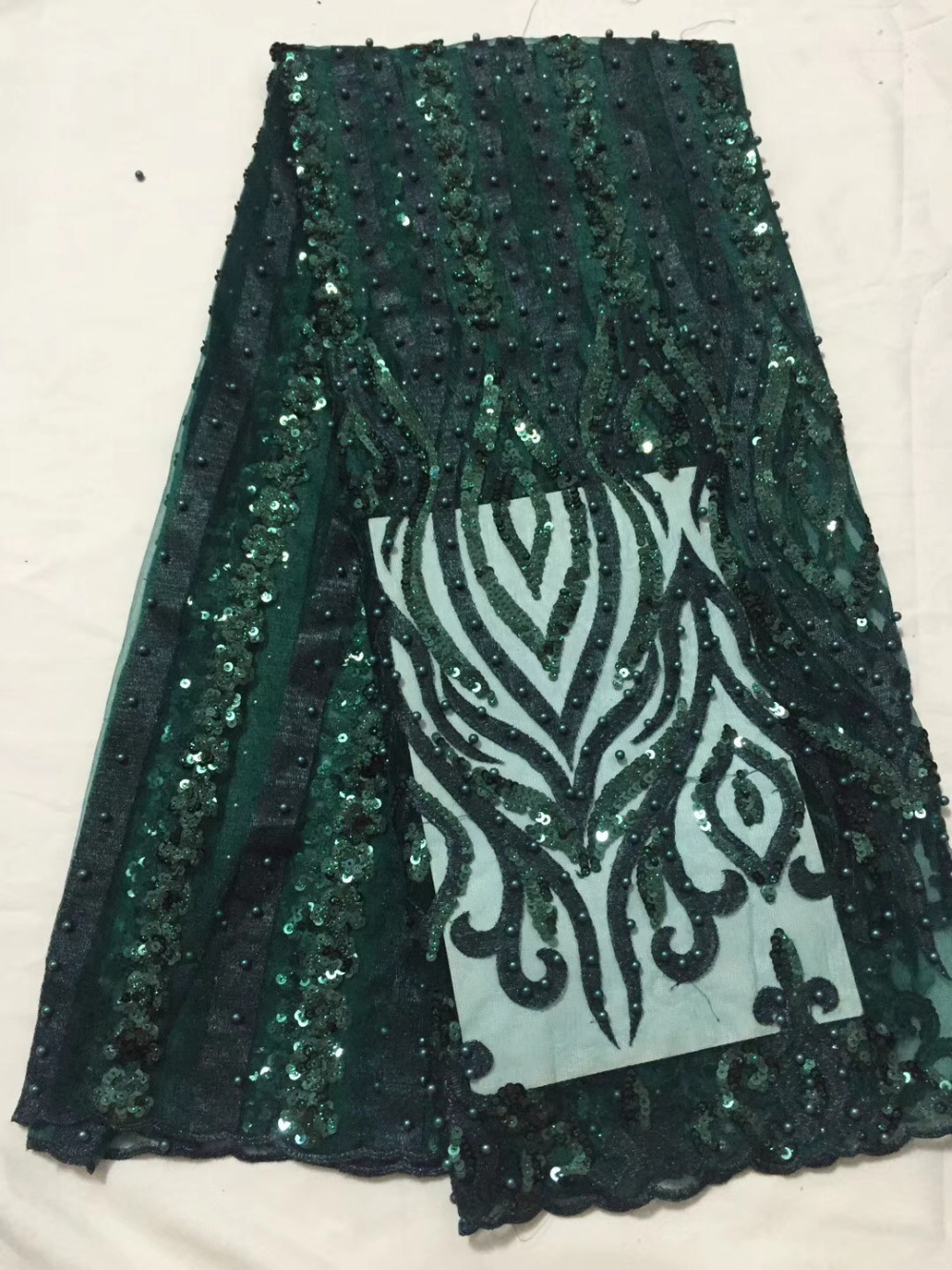 Methodical Novelty 3d French Lace With Sequins And Beaded 5 Yards/lot 2018 Latest Design Green African Lace Fabric For Wedding Dress Fast Color Lace