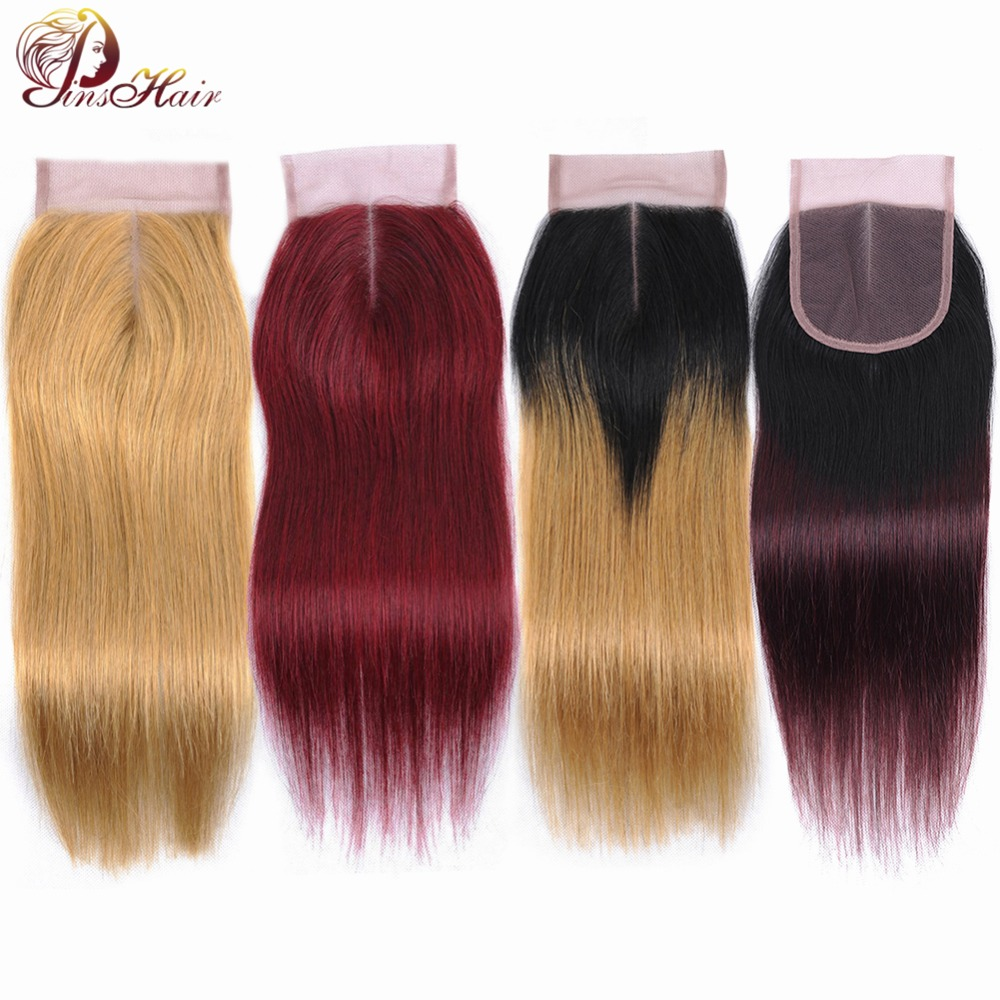 Pinshair Brazilian 613 Blonde Closure With Dark Roots Human Hair Weave 4 4 Lace Middle Part