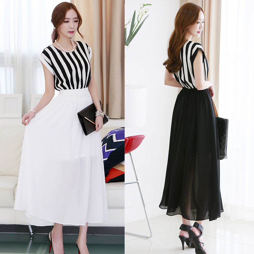 Korean Style Casual Long Black Dresses Party White Slim ...