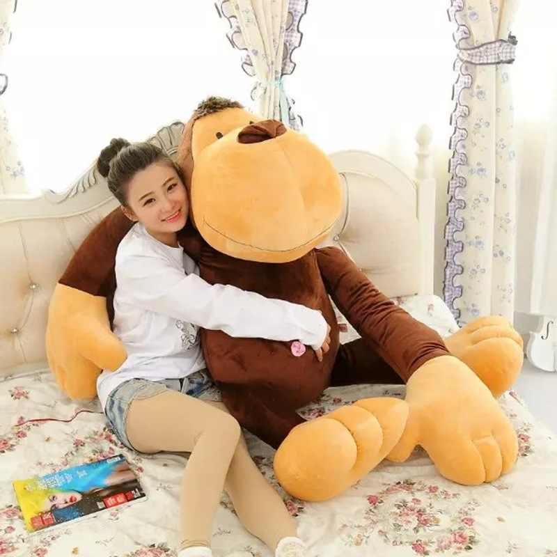 Enorme 140 cm brown scimmia peluche, braccia lunghe scimmia bambola, dormire cuscino sorpreso proposta, regalo di compleanno w5240