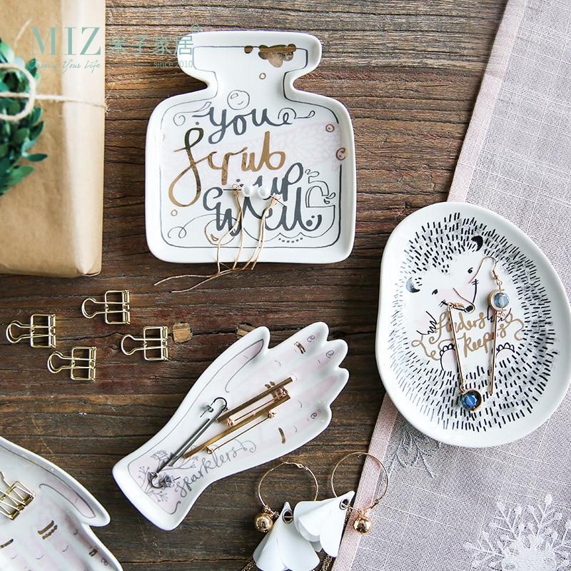 Miz 1 Piece Jewelry Organizer Decorative Storage Plate Cute Desk Accessories for Home Decoration Small Plate Ceramic Dish ...