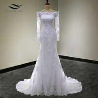 Solovedress A Line Elegant Appliques Boat Neck Lace Long Sleeves Wedding Dress 2018 Wedding Gown vestido de noiva SLW007